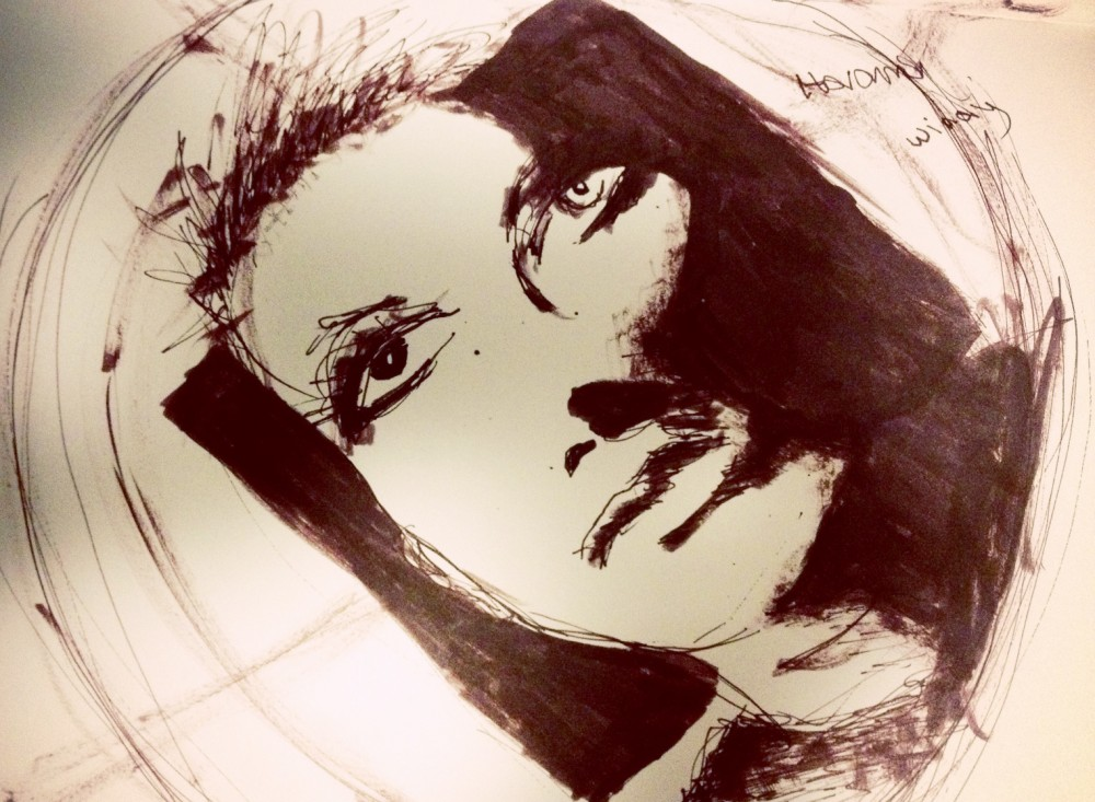 Brown ink drawing of a woman's face